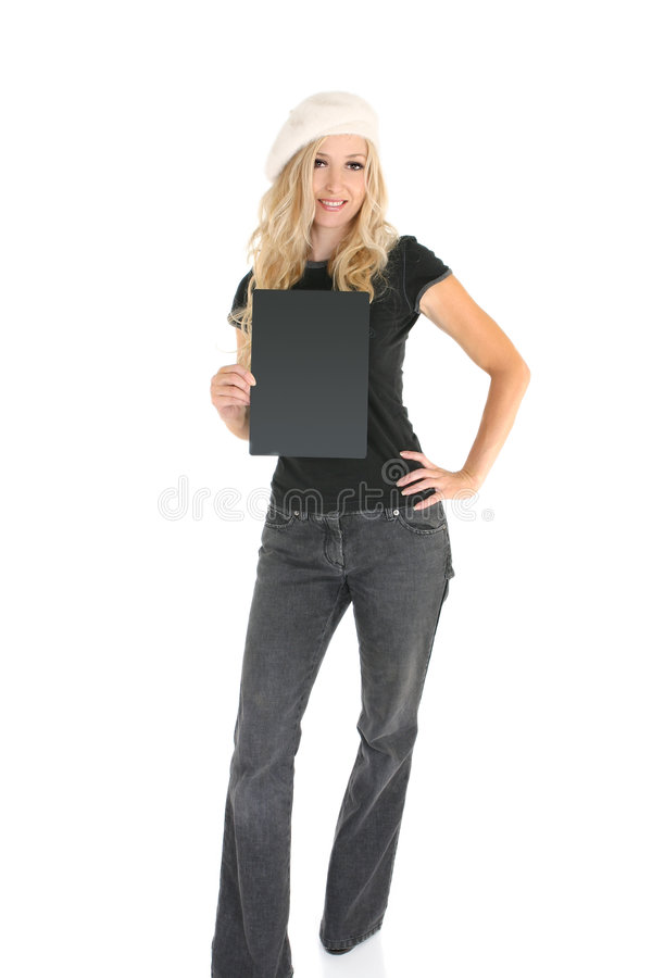 Casual woman with Sign stock photo