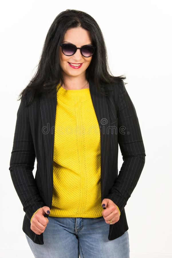 Casual woman with sunglasses stock photo