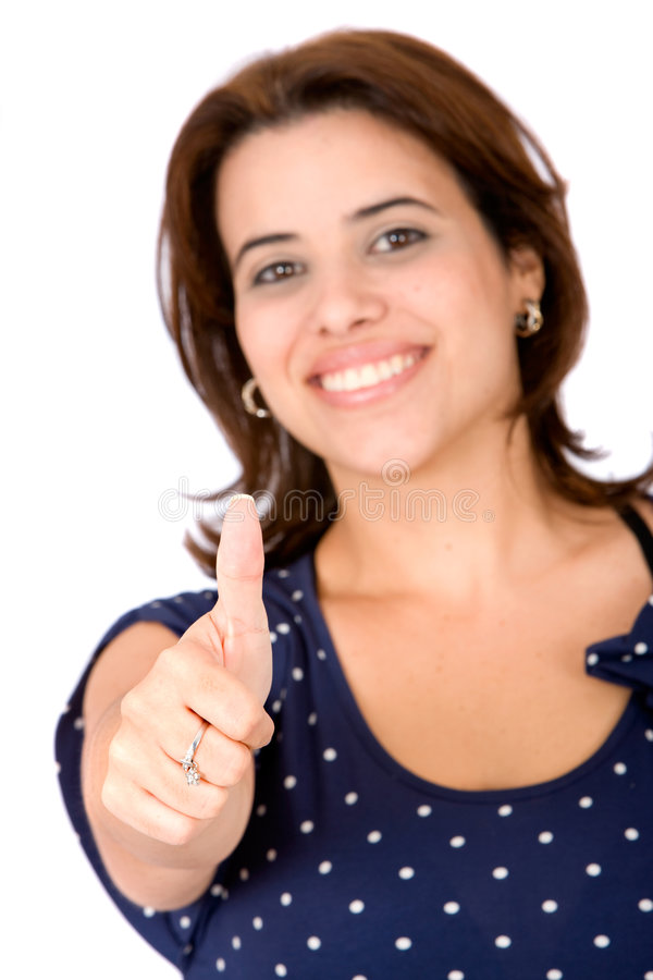 Casual woman with thumb up
