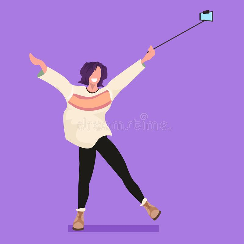 Casual woman using selfie stick taking photo on smartphone camera young girl raising hands female cartoon character. Posing flat full length vector illustration stock illustration