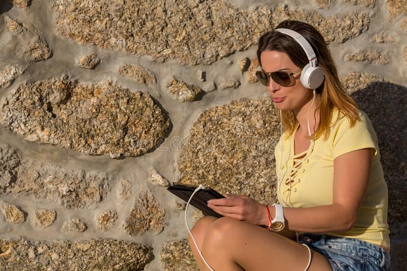 Woman with tablet stock photography
