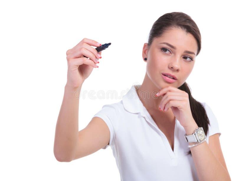 Casual woman writing stock image