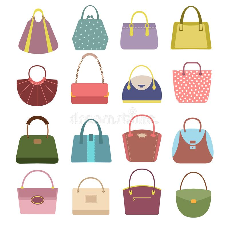 Casual womens leather handbags and purses. Ladies bags vector icons isolated stock illustration