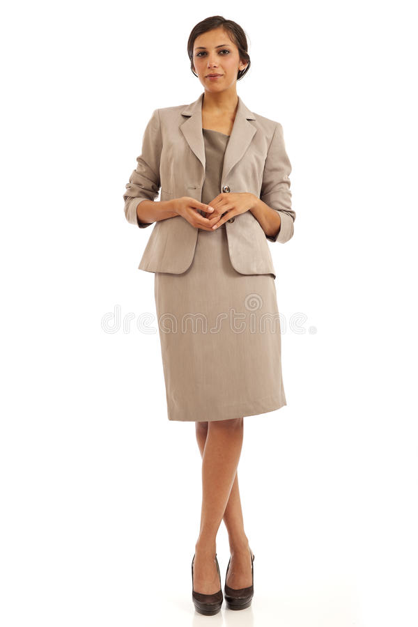 Casual young business woman in suit royalty free stock photos