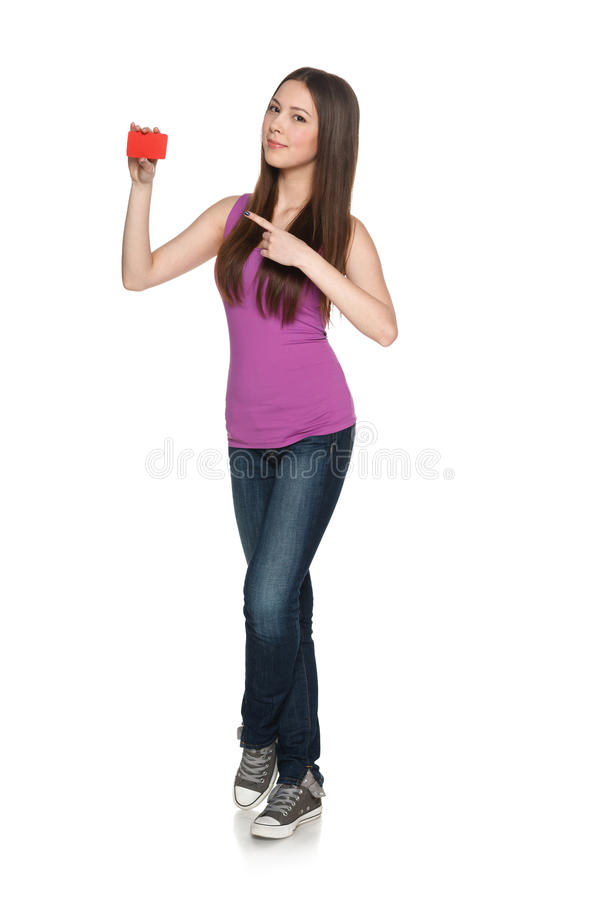 Download Casual Young Female Showing Blank Credit Card Pointing At It Stock Image - Image: 33641501