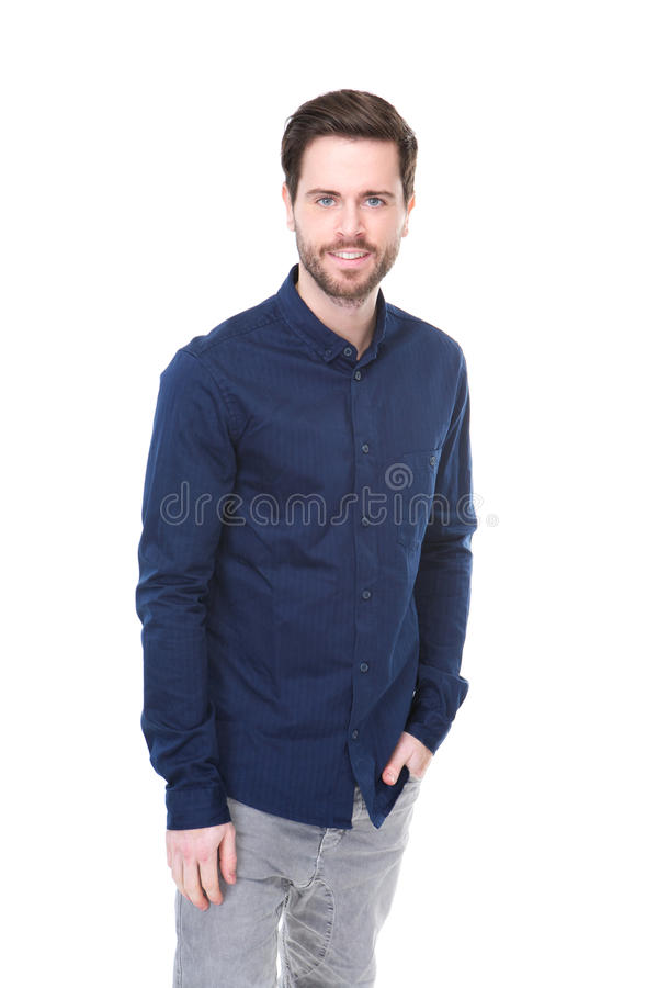 Casual young man with blue shirt royalty free stock photo