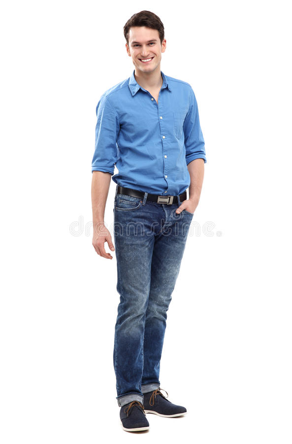 Casual young man smiling royalty free stock photo
