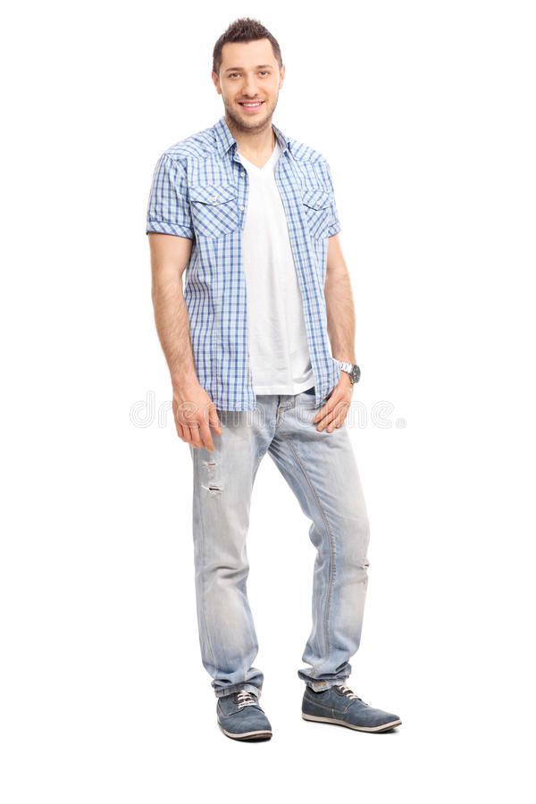 Casual young man smiling and posing royalty free stock photos