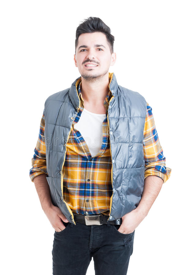 Casual young man smiling and wearing spring clothes stock image