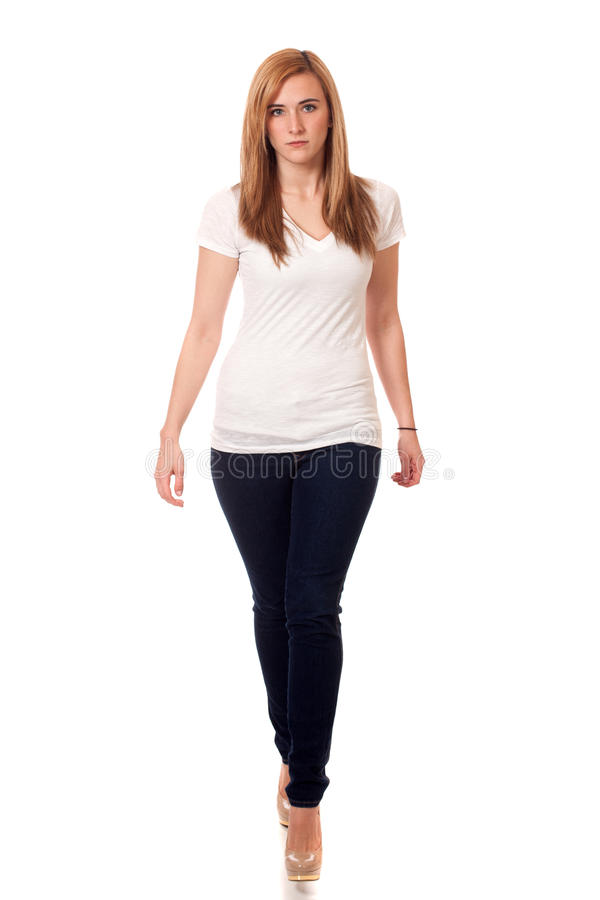 Download Casual Young Woman stock image. Image of studio, t, blue - 29040195