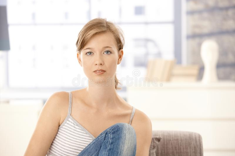 Casual Young Woman At Home Royalty Free Stock Image
