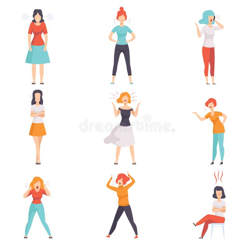 Casually dressed furious young women set, emotional people in rage vector Illustrations on a white background stock illustration