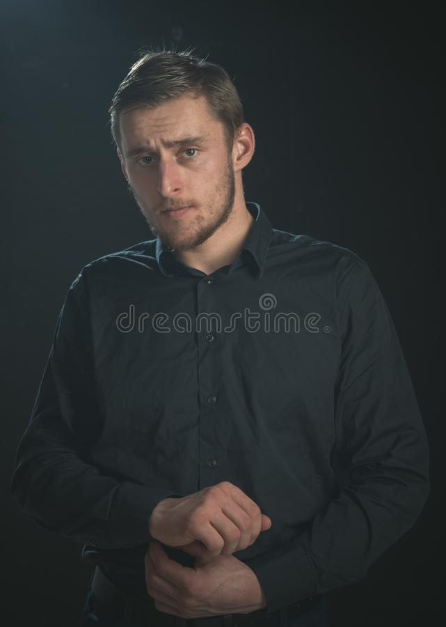 Casually handsome. Caucasian young man. Man of fashion. Stylish man in fashion wear. Fashion model royalty free stock photo