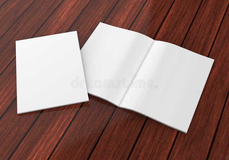Catálogo branco vazio, compartimentos, zombaria do livro acima no fundo cinzento 3d rendem a ilustração ilustração stock