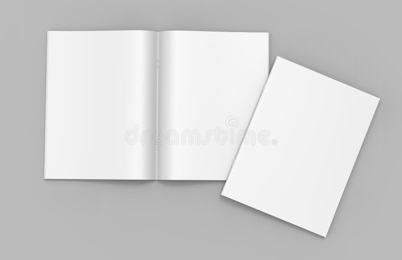 Catálogo branco vazio, compartimentos, zombaria do livro acima no fundo cinzento 3d rendem a ilustração ilustração do vetor