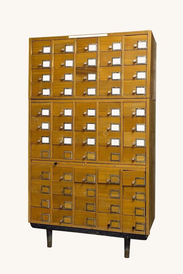 Catálogo de cartão velho da biblioteca do vintage no fundo branco foto de stock royalty free