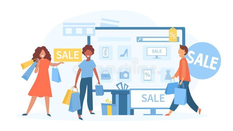 Catálogo en línea o concepto de ventas ilustración del vector