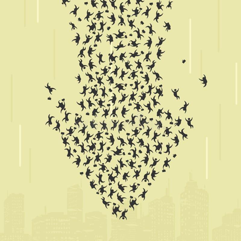 Catástrofe económica de la humanidad ilustración del vector