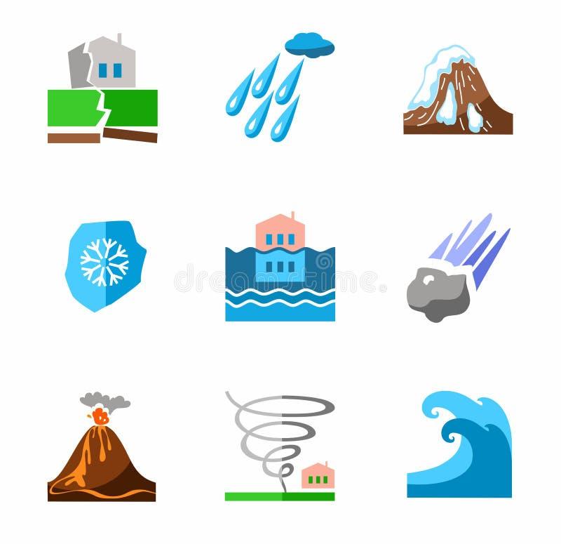Catástrofes naturais, ícones coloridos ilustração stock