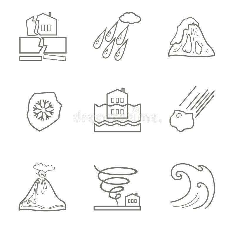 Catástrofes naturais, ícones do contorno, monocromáticos ilustração do vetor