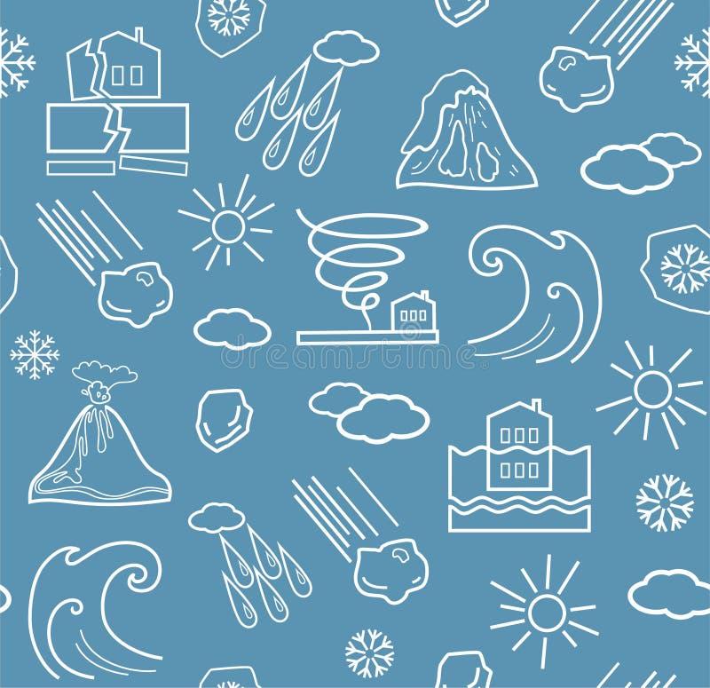 Catástrofes naturais e condições meteorológicas, fundo cinzento-azul sem emenda ilustração do vetor