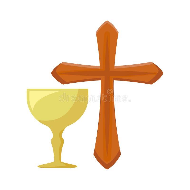 Católico cruzado con la cáliz sagrada libre illustration