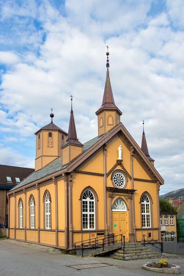 Católico nossa casa da senhora Church And Bishops em Tromso, Noruega fotos de stock