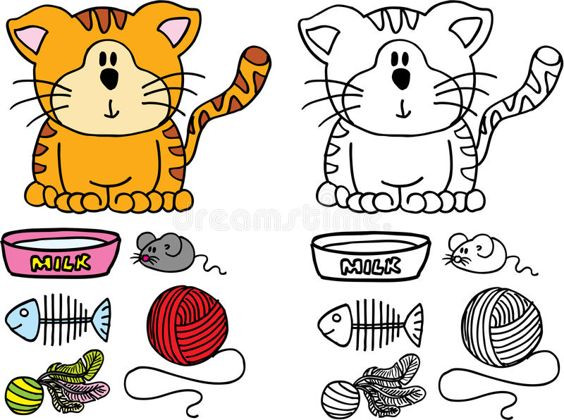Cat. Sweet cat with milk and toys on white background vector illustration