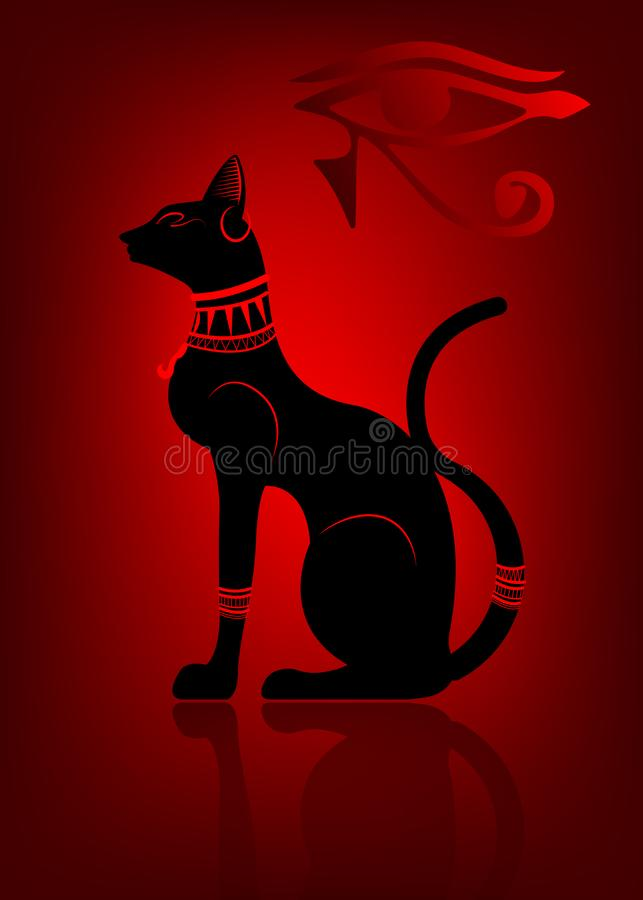 Black Egyptian cat. Bastet, ancient Egypt goddess, statue profile with Pharaonic gold jewelry, vector Illustration isolated royalty free illustration