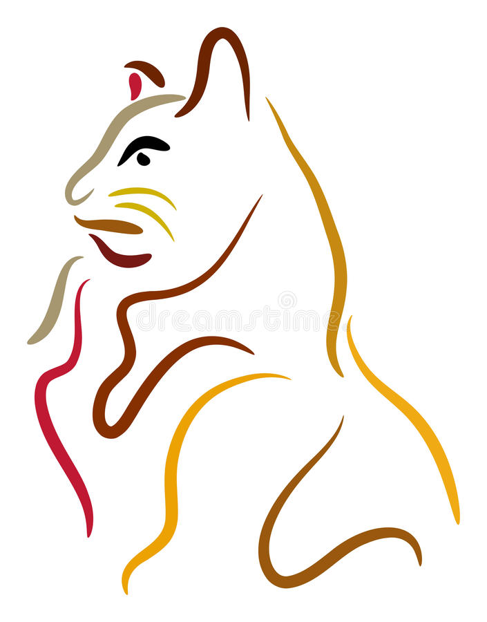 Download Cat stock vector. Image of domestic, line, sketch, mammal - 18331236