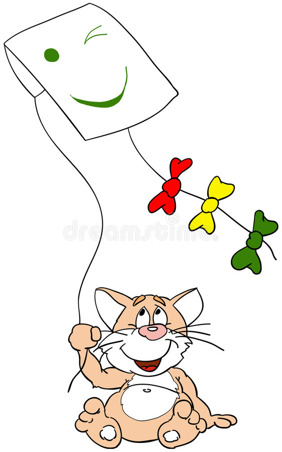 Download Cat stock illustration. Image of play, kite, animal, game - 350825