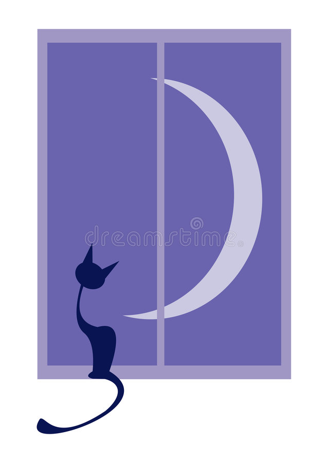 Cat in Window with Crescent Moon royalty free stock image