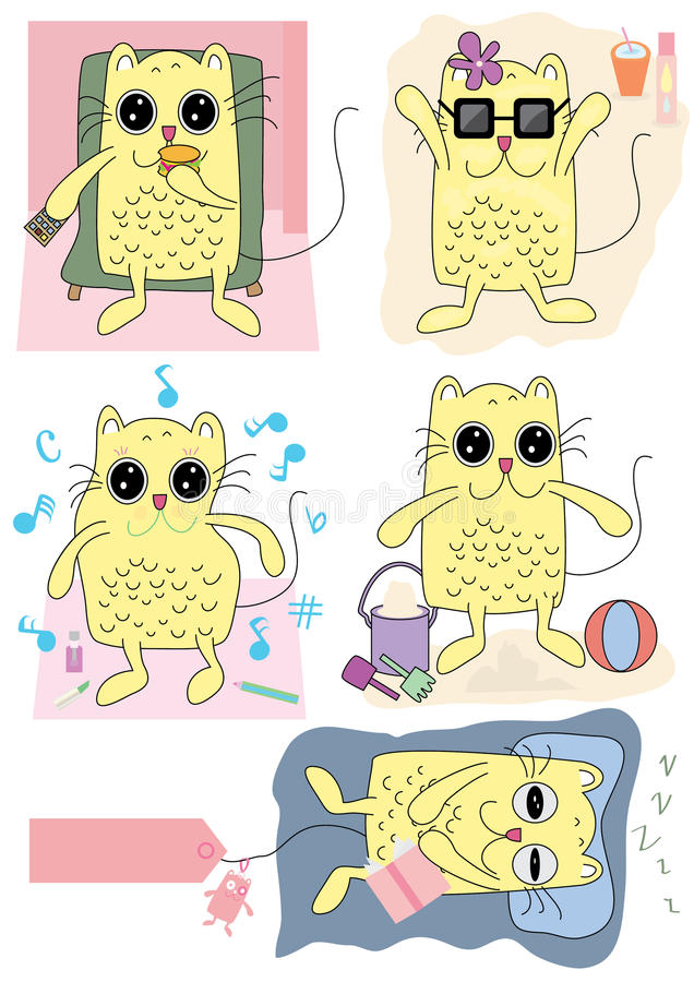 Cat Activity_eps. Illustration of character cat with activity, eating, basking, dancing, playing and sleeping. --- This .eps file info Document: A4 Paper Size vector illustration