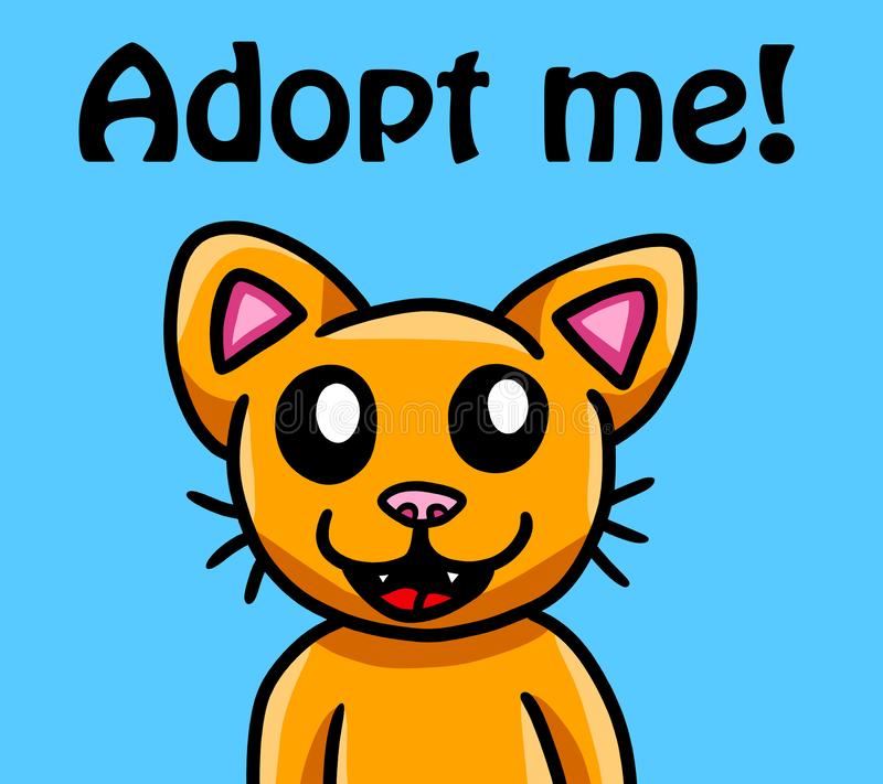 Happy Cat Adopt Me Card. Digital illustration of a cat wanting to be adopted card royalty free illustration