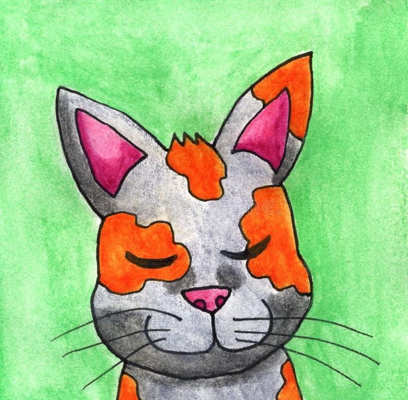Cat With adorable un fondo verde foto de archivo libre de regalías