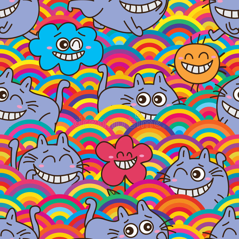 Cat alice shy half circle seamless pattern royalty free illustration