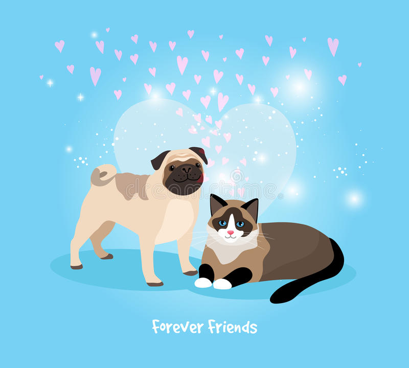 Free Cat And Dog Friends Stock Photography - 46625072