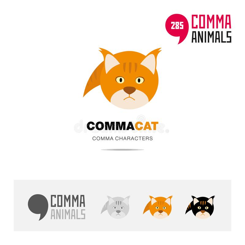 Cat animal concept icon set and modern brand identity logo template and app symbol based on comma sign royalty free illustration