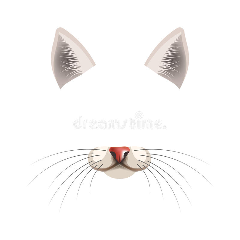 Cat animal face filter template video chat photo effect vector isolated icon. Cat animal face filter template for video chat animated effect or smartphone camera royalty free illustration