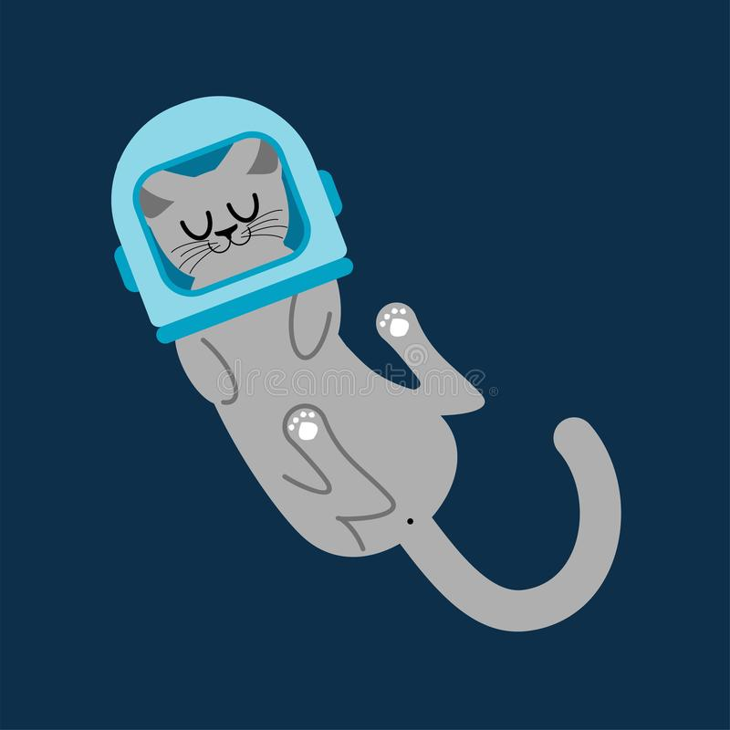 Cat astronaut in cosmonaut helmet. Home pet in space. Animal spa stock illustration