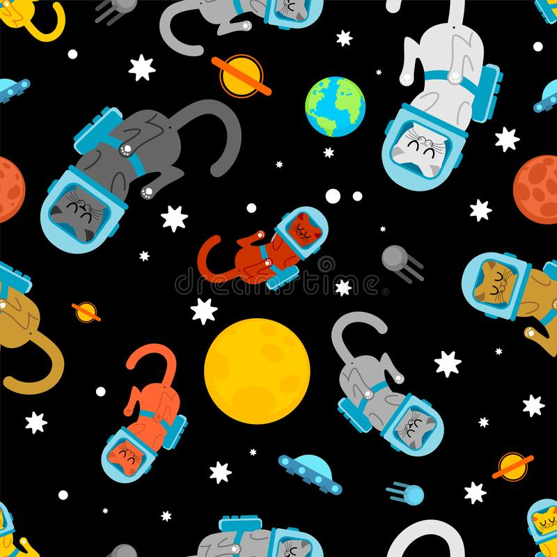Cat astronaut space pattern seamless. Pet spaceman background. Kitty cosmonaut costume. Universe Baby cloth textire stock illustration