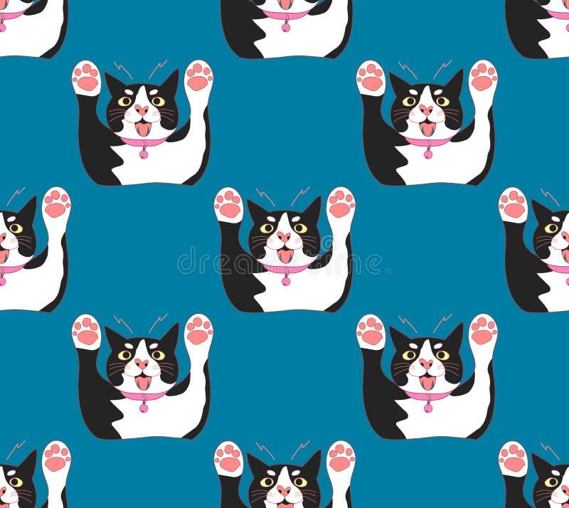 Cat Attack noire et blanche mignonne sur le fond de bleu d'indigo Illustration de vecteur illustration stock