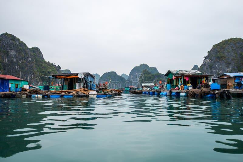 Cat Ba Island, Vietnam Vissend Drijvend Dorp stock afbeelding