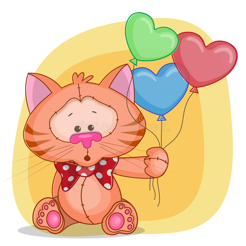 Cat with baloons. Greeting card cat with baloons royalty free illustration