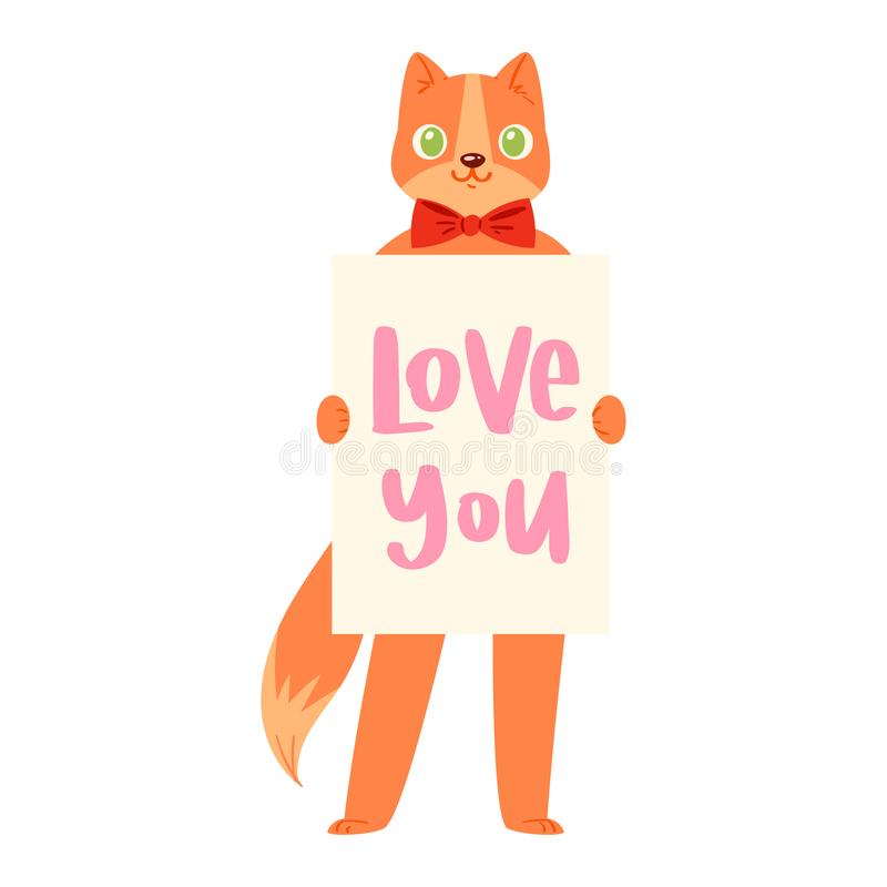 Cat banner i love you vector kitten character peeking behind cardboard kitty holding copy space message poster vector illustration