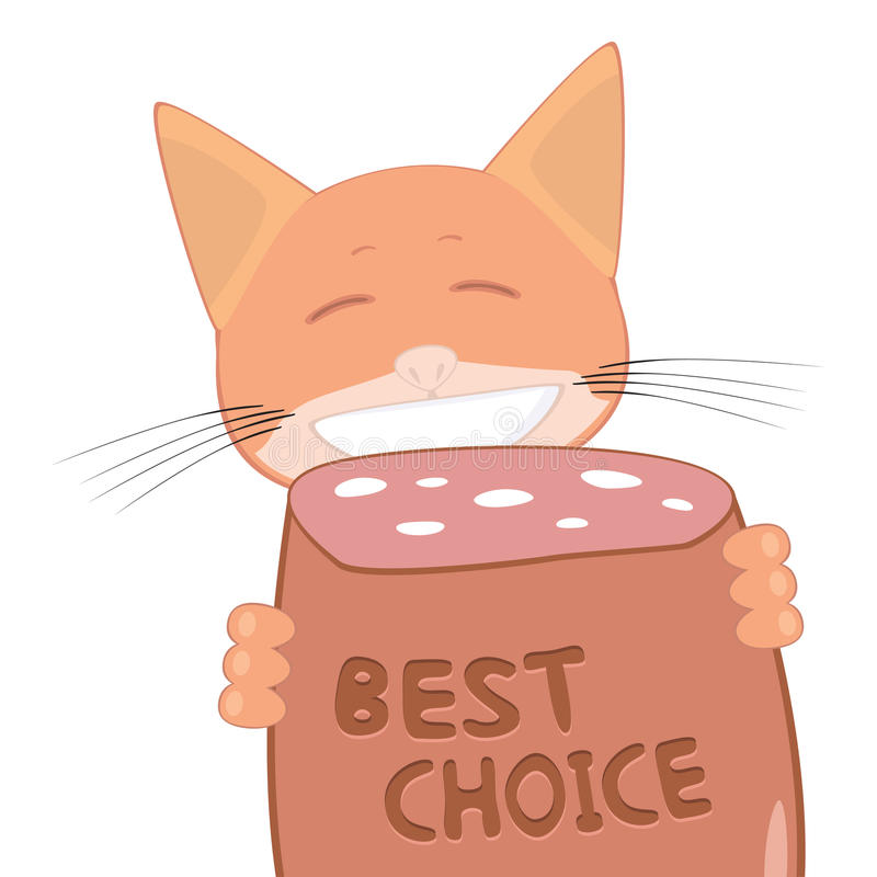 Download Cat And Best Choice Sausage Stock Vector - Illustration of best, cartoon: 24372326