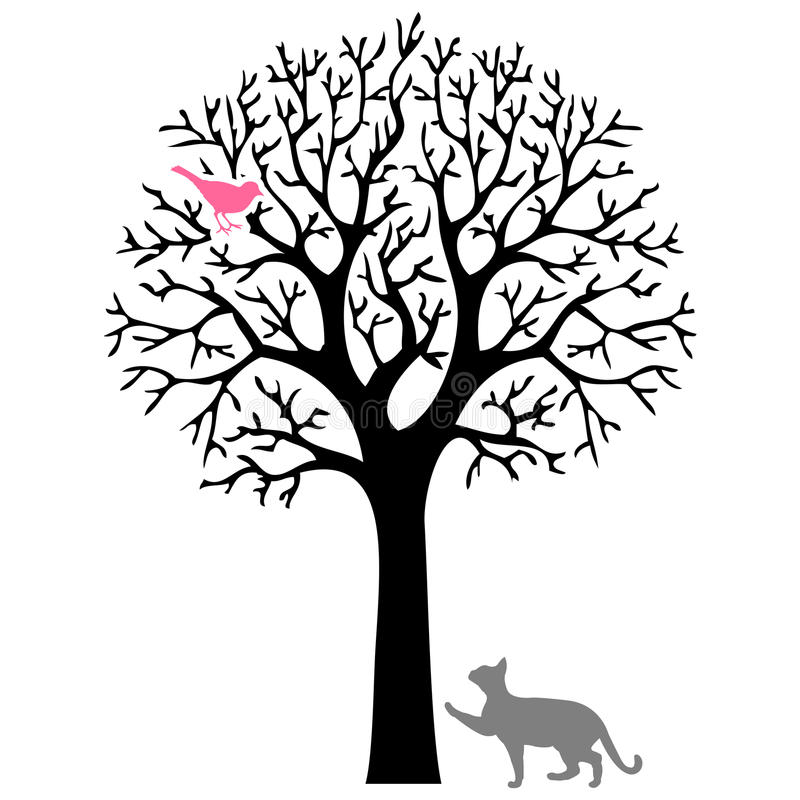 The cat and the bird. Cat trying to catch a bird on a tree