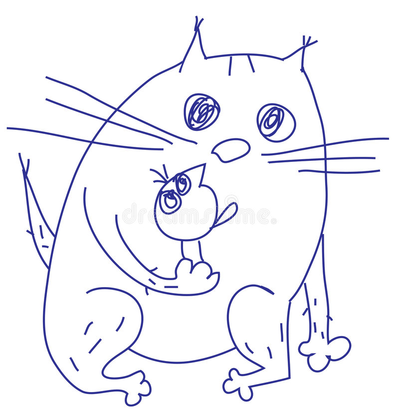 Download Cat and bird stock vector. Image of bird, doodles, blue - 8598011