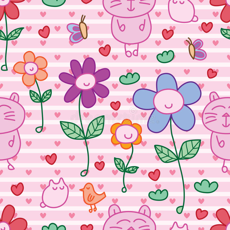 Cat bird butterfly flower happy seamless pattern. This illustration is design and drawing cat, bird, butterfly with happy flower in pink color stripes and love vector illustration