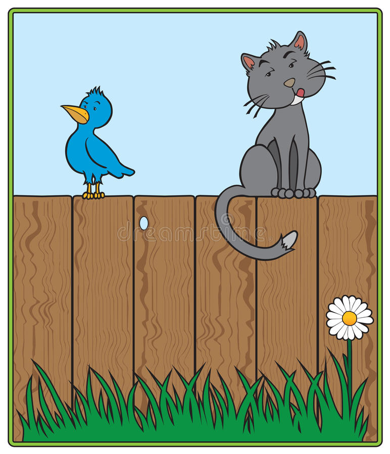Download Cat and Bird on fence stock vector. Image of humor, curious - 29389509
